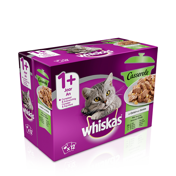 WHISKAS<sup>®</sup> Casserole Mix Selectie in Gelei 1+