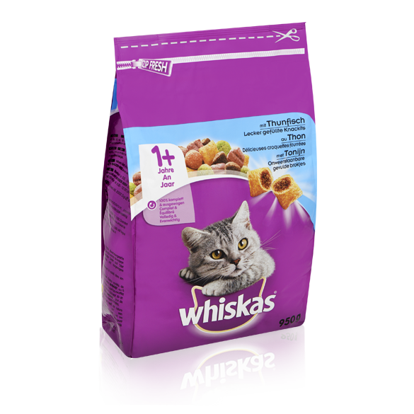 WHISKAS<sup>®</sup> Droge brokjes 1+ Tonijn 950g